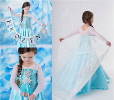 Frozen Princess Elsa Anna Queen Costume Party Fancy Kids Girl Cosplay Gown Dress