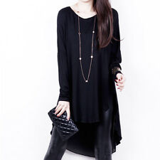 Women Chiffon Cotton Ruffle Tops Scoop Neck Long Tunic Plus Size Day Shift Dress