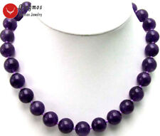 "SALE Big 10mm High Quality Dark purple Perfect  Round Jade 18"" Necklace-nec5250"