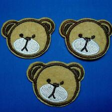 3 Teddy Bear Head Iron on Sew Patch Applique Badge Embroidered Biker Applique Cu