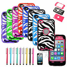 Heavy Duty Hybrid Rugged Impact Hard Protective Case Cover Skin for iPod Touch 4