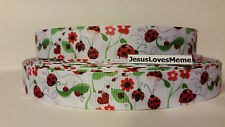 """Grosgrain Ribbon, Lady Bugs Hearts Red Daisy Flowers on White, 7/8"""" Width"""