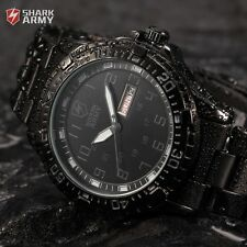 SHARK ARMY Men's Analog Date Stainless Steel Quartz Military Sport Wrist Watch