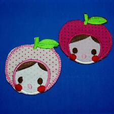 Apple Face Girl Cute Iron on Sew Patch Applique Badge Embroidered Baby Applique