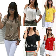Women Sexy Strap Short Sleeve Loose Casual T Shirt Summer Casual Tops Blouse