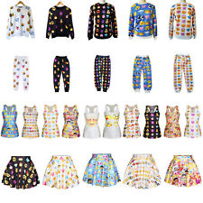 Hot!Women's EMOJI Print Pullover Sweatershirt/Jogger Pants/Tank Top/Skater Skirt