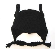 "CROCHET ""BATMAN"" inspired BABY HAT infant to adult sizes black beanie photo prop"