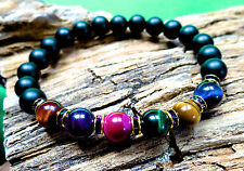 Tiger eye and onyx bracelet w/ purple crystals 7 chakra pick size FREE shipping