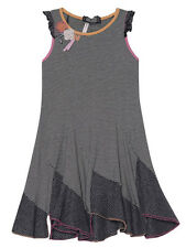 Dexu Par Deux Gray Flounce Jersey Sleeveles Girls Dress Ruffled Trim At Shoulder