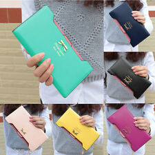 Women Long Purse Coin Wallet Card Holder Clutch Bag Wallet Bow Knot PU Leather