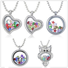 Chic Living Memory Floating Glass Love Locket Charms Necklace Pendant Chain Gift