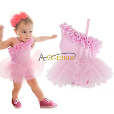 Pink Infant Baby Girl One-Piece Romper Ruffle Tutu Dress Outfit Clothes 12-24M