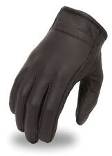 Men's Super Clean Light Lined Black Leather Motorcycle Riding Cruising Glove
