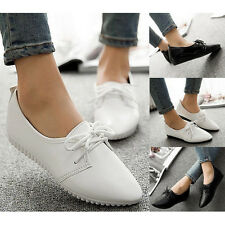 Trendy Lace Up Slip On Solid LOAFERS Casual Pointed Toes FLAT Dress Formal Shoes
