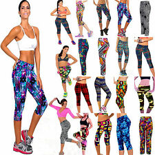 Women's High Waist Fitness YOGA Sports Pants Printed Stretch Cropped Leggings