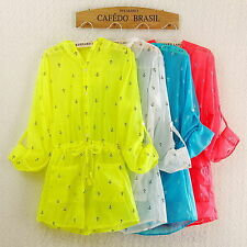 Women Air-conditioned Shirt Tops Summer Beach Wear Sun-protective Clothing