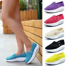 Casual Women Flat Loafers Lace Slip-on Comfort Thick Soles Walking Shoes Sneaker