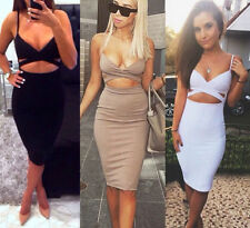 Sexy Women Hollow Strap Evening Party Bodycon Bandage Club Pencil Dress Skirt