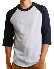 Mens 3/4 Raglan Sleeve Baseball T-Shirt, Athletic Casual Tees - Gray/Royal
