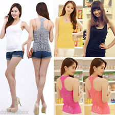 Women Crochet Hollow Out Lace Back Sleeveless T-shirt Tank Top Vest Cami Tops