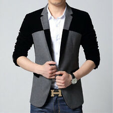 New Men's Casual Splice Slim Fit One Button Suit Blazer Fashion Coat Jacket