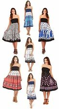 Womens 2 In 1 Strapless Beach Summer Dress / Long Maxi Skirt Ladies Size UK 8-16