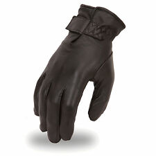 Ladies Mid-Weight Insulated Lined Touring Black Leather Motorcycle Riding Gloves
