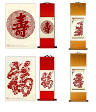 """2pc Wave 54X27"""" Produce Semi Processed Rice Shuan Paper Calligraphy Painting"""