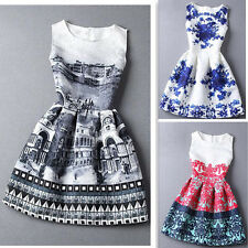 New Summer Printing Women Sleeveless Casual Skater Party Evening Cocktail Dress