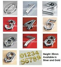 0-9 Silver/Gold House Door Address Plaque Number Digits Sticker Plate Sign 35mm