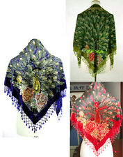 Women's Handbeaded Bead Triangle Silk Velvet Shawl/Scarf Peacocks--12 Colors