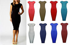 New Womens Short Sleeve Ladies Midi Maxi Cap Sleeve Summer Bodycon Dress 8-14