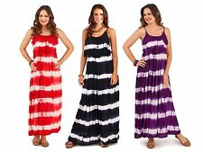 Womens Summer Dress Strappy Maxi Full Length Ladies Tie Dye Striped Size UK 8-16