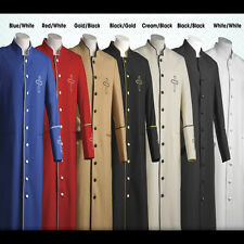 Clergy Robe with Cross on Chest and Sleeves Black/Gold, Blue/White, Black/Black