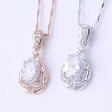 Wedding Chain 18k gold filled charm white Swarovski crystal Pendant necklace