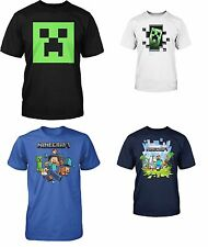 BOYS OFFICIAL MINECRAFT GAME CREEPER STEVE T SHIRT CLOTHING TOP AGES 7 - 12