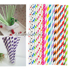 Best 25xStriped paper dringking straw-rainbow mixed for party table decorations