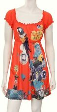 SEXY Orange FLORAL TROPICAL PARROT BIRD CRUISE SUMMER VACATION COVER UP DRESS