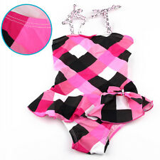 Kids Girls Halter Tankini Swimwear Swimming Swim Bathing Suit Costume 2-11 Years