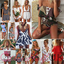 UK Women Sexy Kimono Mini Playsuit Ladies Jumpsuit Summer Shorts Beach Sun Dress