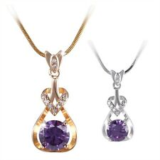 18K white/yellow Gold filled noble wedding purple Amethyst necklace pendant 18''