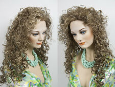 28 in Long Curly Wet Look Shag Blonde Brunette Red Grey Wigs with Bangs
