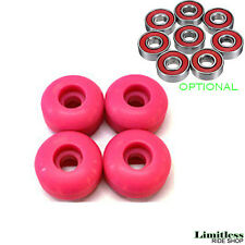 Pink SKATEBOARD WHEELS - 52mm SET blank wheels (optional REDS ABEC 7 BEARINGS)