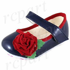 New Baby shoes velcro closure synthetic material navy blue red flower girls
