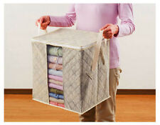 Bamboo Folding Charcoal Clothes Storage Box Bag Sweater Blanket Closet W1ES