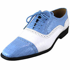 New men's dress shoes fashion animal print lace up style light blue white formal