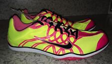 NIKE ZOOM W 3 Volt Yellow Pink Middle Long Distance Track Spikes NEW Womens 10.5