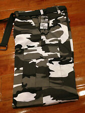 """NWT Men's Regal Wear Black White Camouflage Camo Cargo Pants ALL SIZE 32"""" length"""