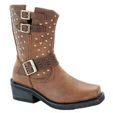 Harley Davidson Ladies Shirley Brown Studded Boot D83715 New