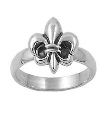 Sterling Silver Woman's Simple Fleur De Lis Mens Ring Fashion Band Sizes 5-10